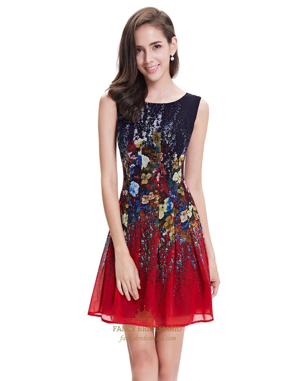 red and black sleeveless floral print short chiffon