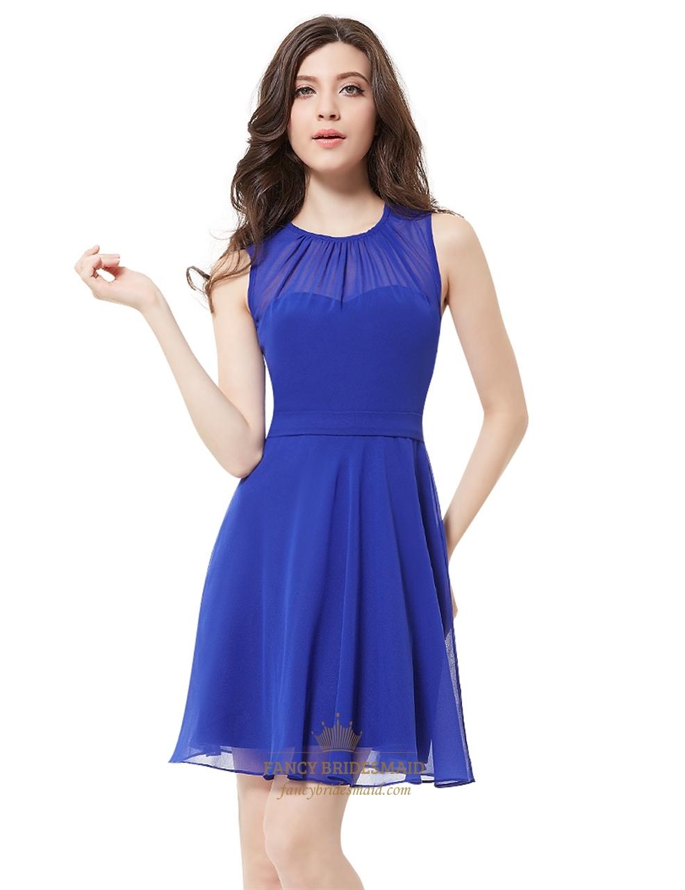 Elegant royal blue illusion neckline chiffon short bridesmaid elegant royal blue illusion neckline chiffon short bridesmaid dresses ombrellifo Choice Image