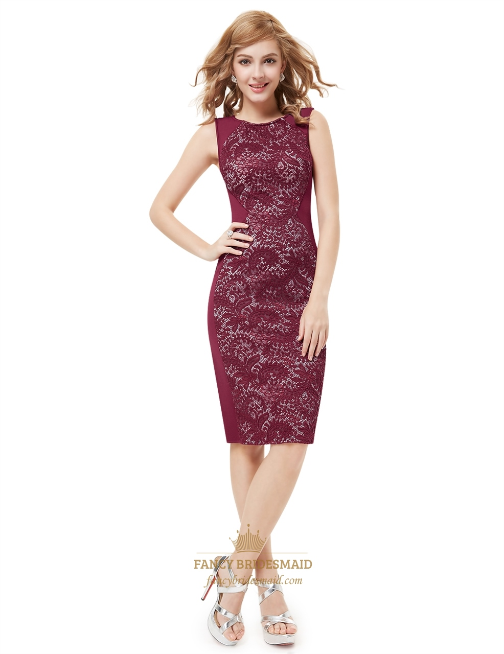 Elegant Burgundy Knee Length Sheath Cocktail Dress With Lace Back ...
