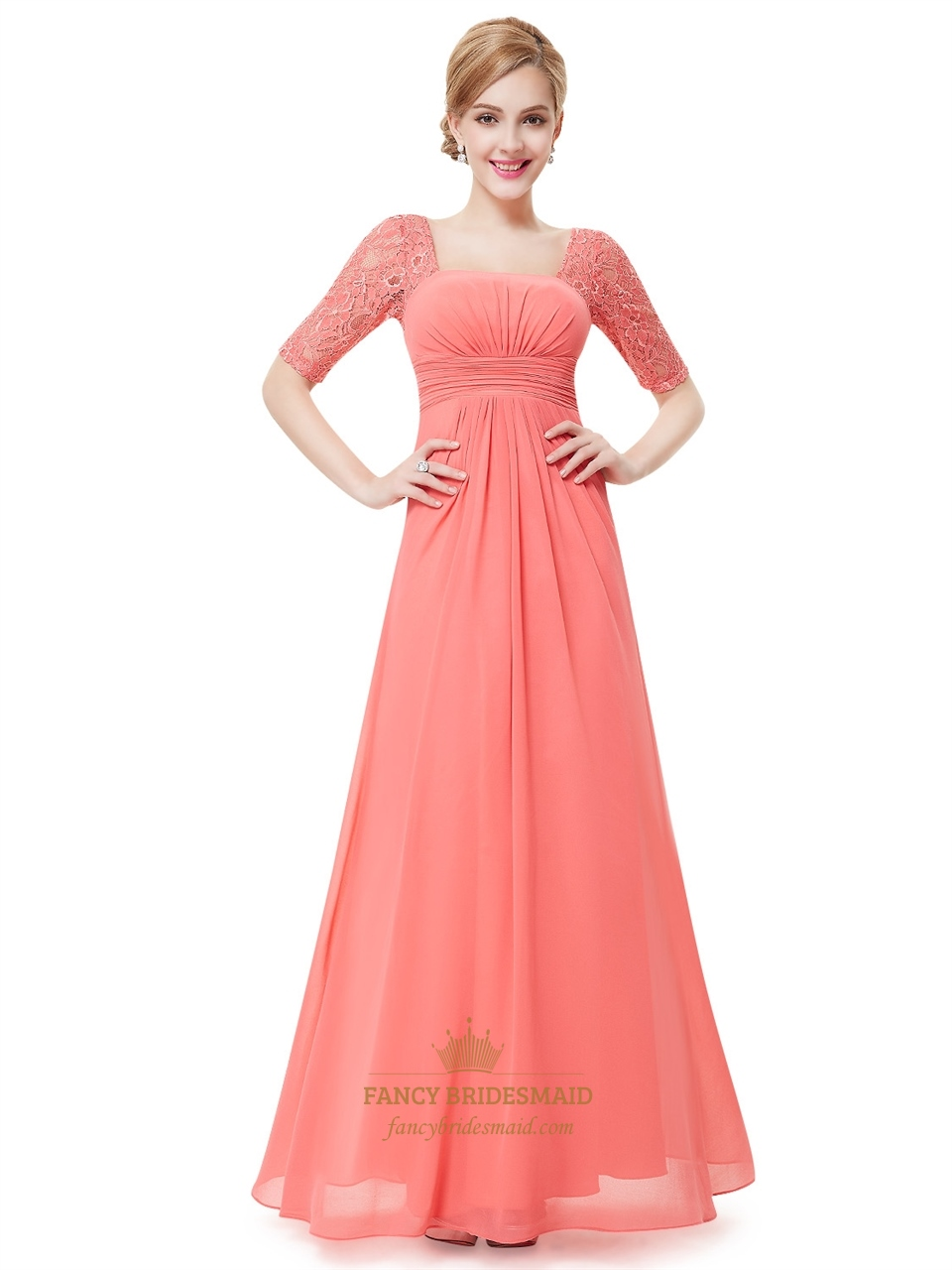 Coral Chiffon Floor Length Bridesmaid Dress With Lace Half ...