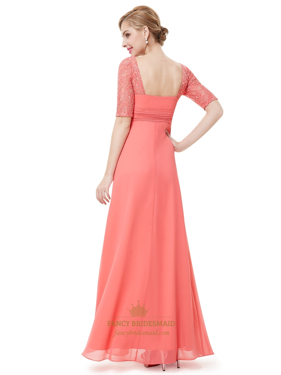 59a8dae5124 Coral Chiffon Floor Length Bridesmaid Dress With Lace Half Sleeves ...