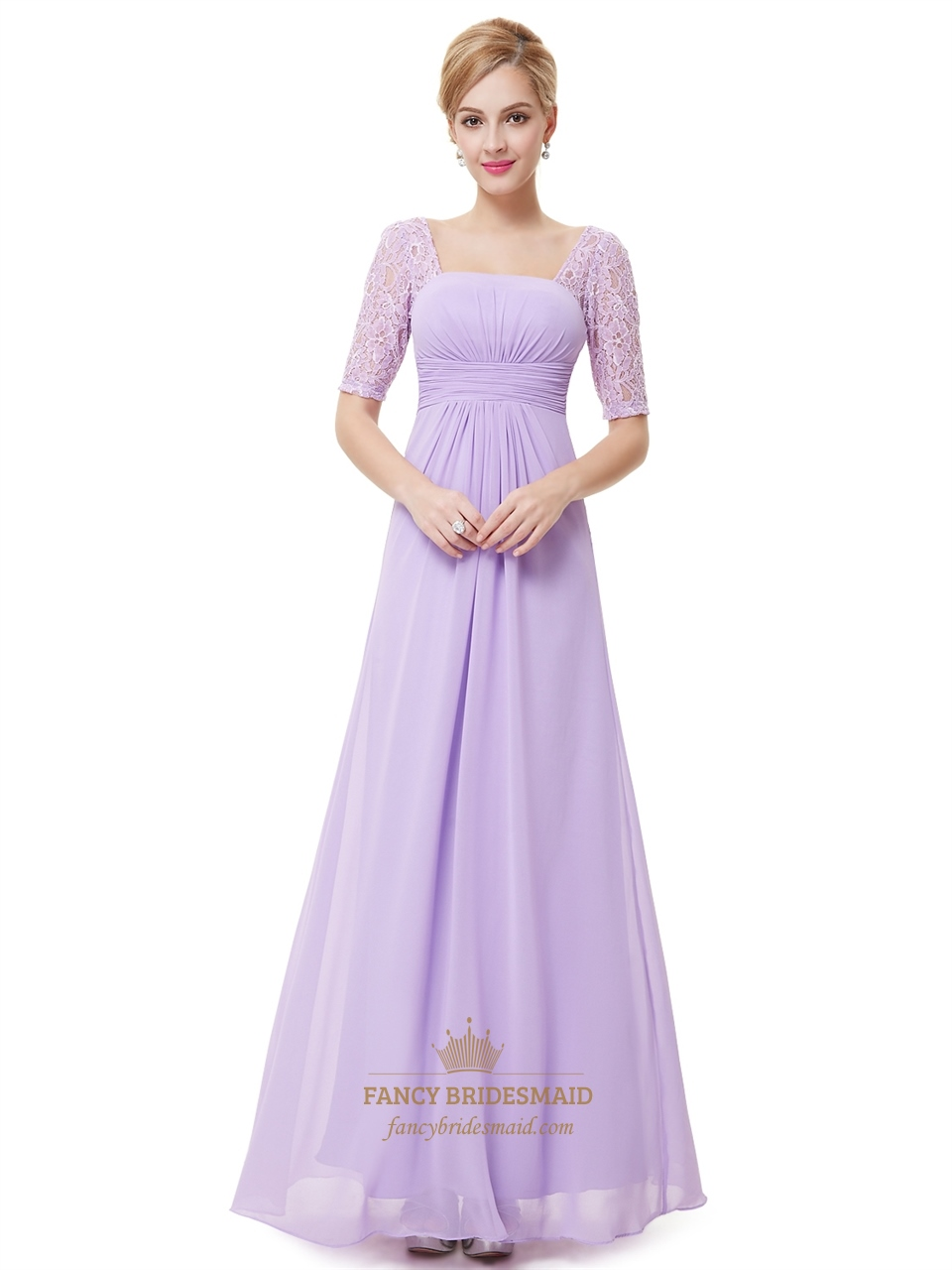 Lilac chiffon floor length bridesmaid dress with lace half sleeves lilac chiffon floor length bridesmaid dress with lace half sleeves ombrellifo Images