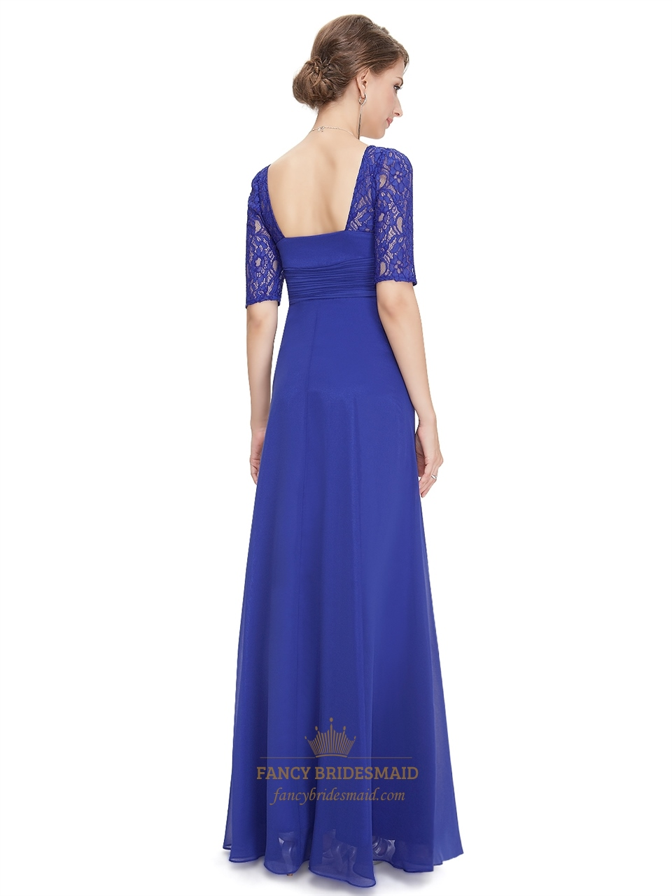 Royal blue chiffon party wedding bridesmaid dress with for Blue wedding dress with sleeves