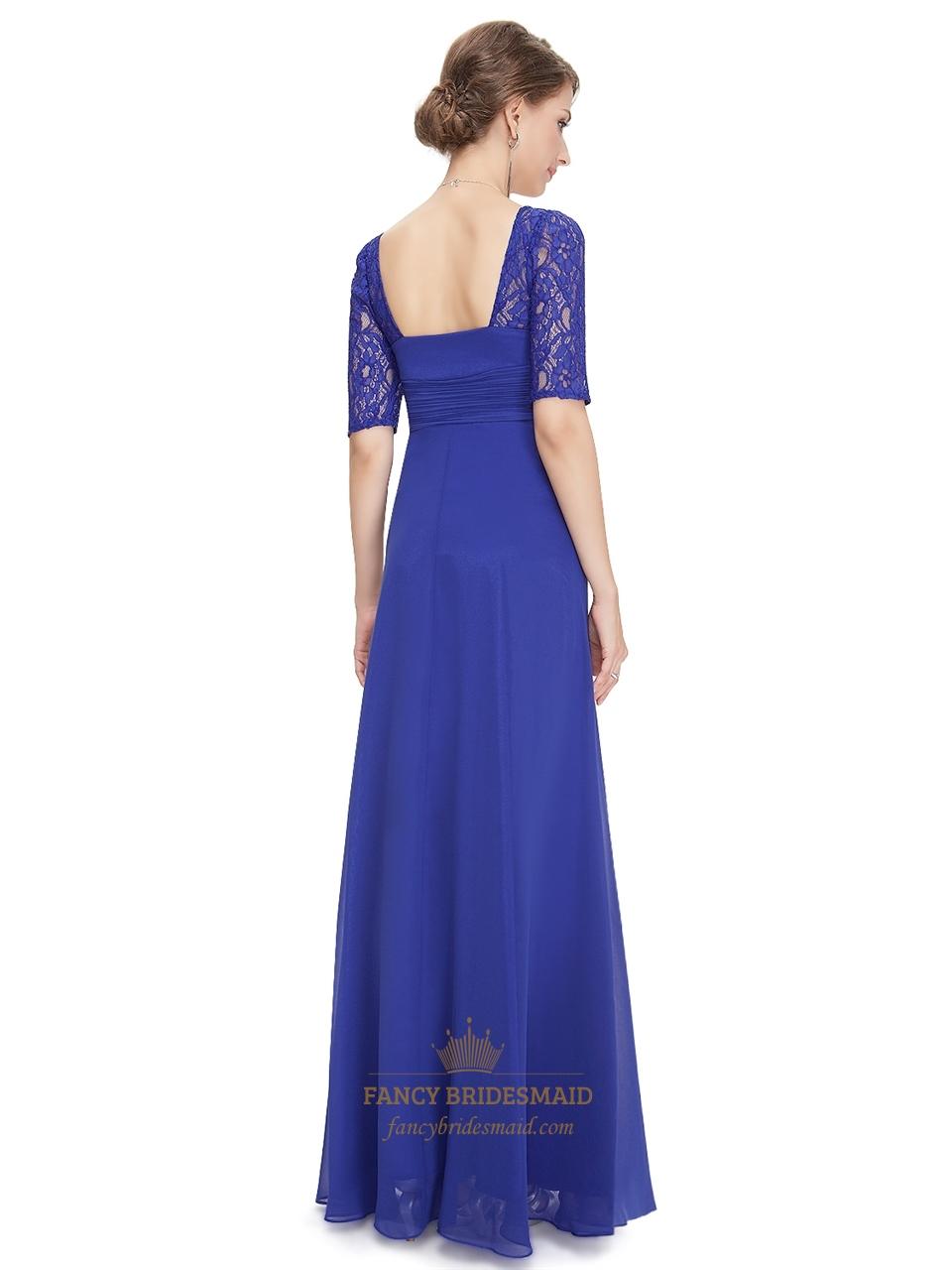 royal blue chiffon party wedding bridesmaid dress with