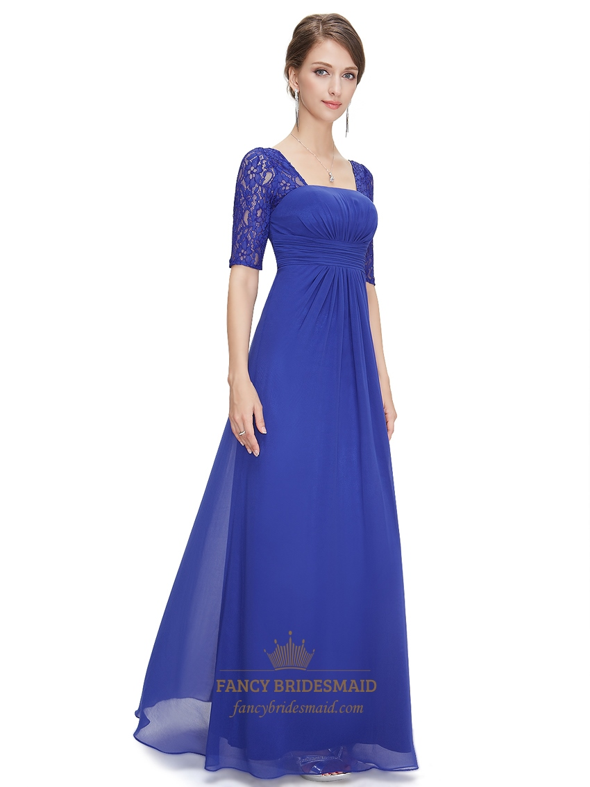 Royal blue chiffon party wedding bridesmaid dress with for Blue lace wedding dress