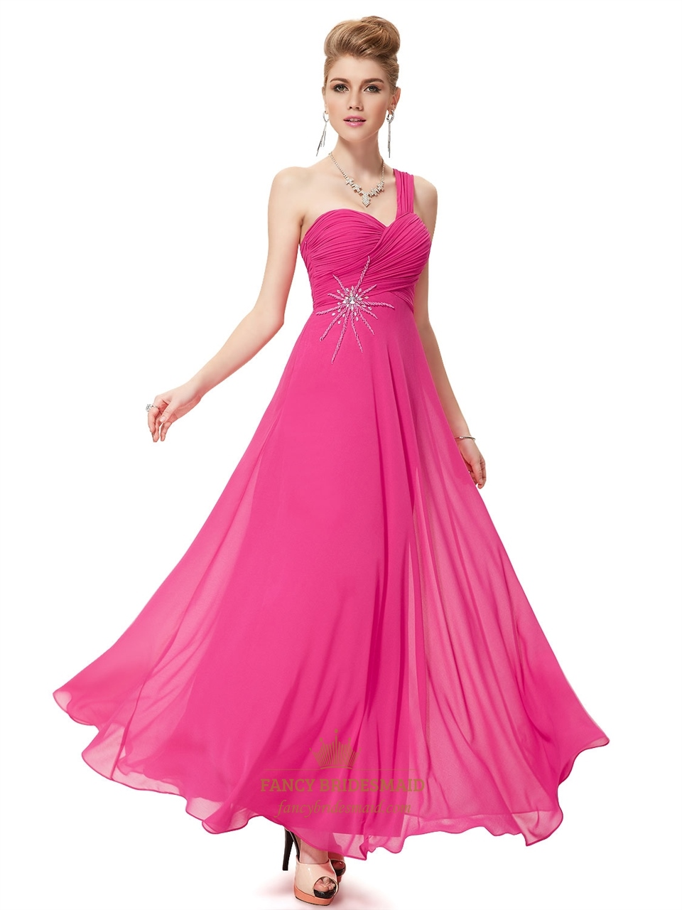 9143cbf0007dc Hot Pink Chiffon One Shoulder Long Bridesmaid Dress With Beaded Detail SKU  -NW1465