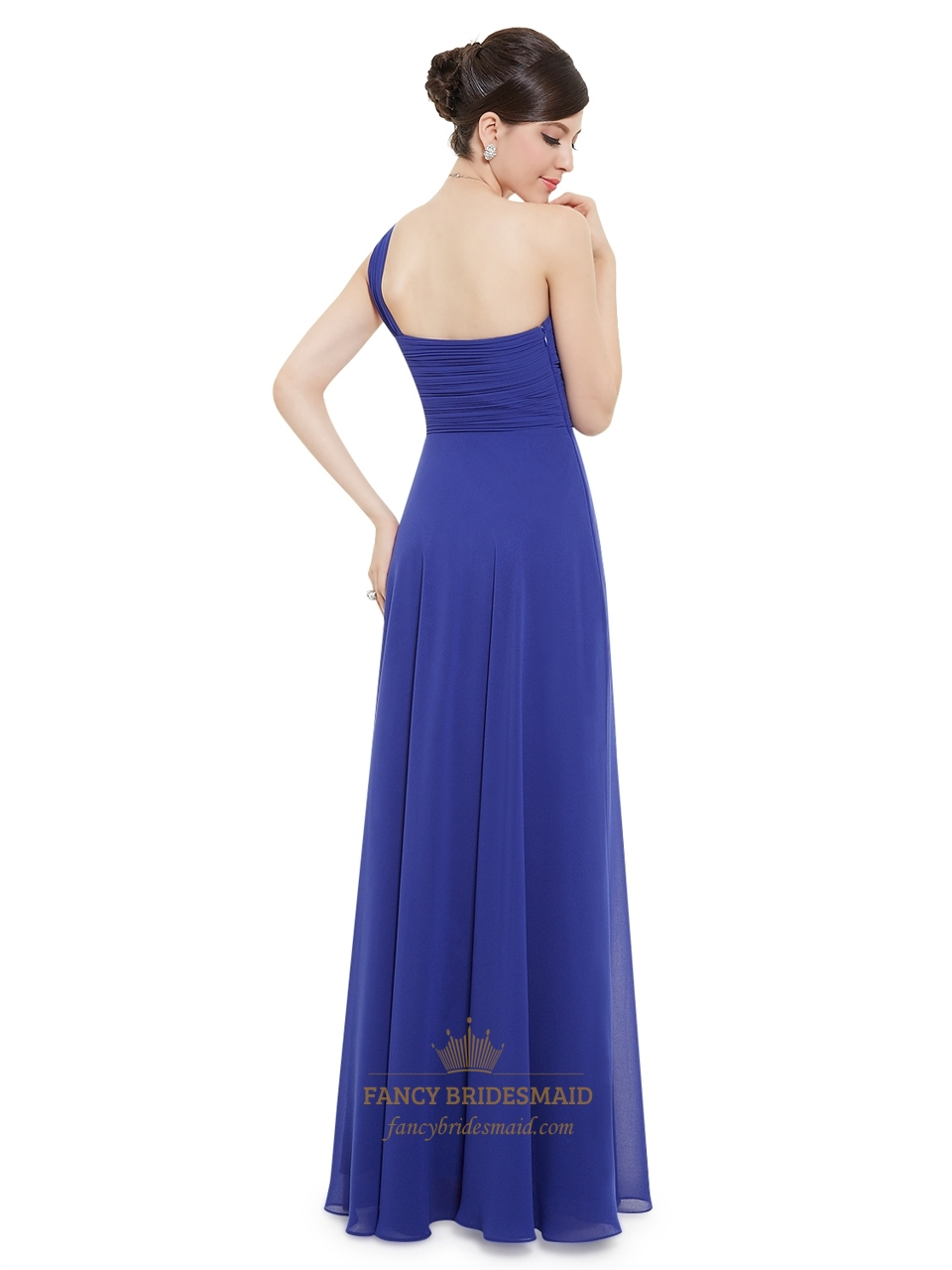 royal blue chiffon one shoulder long bridesmaid dress with