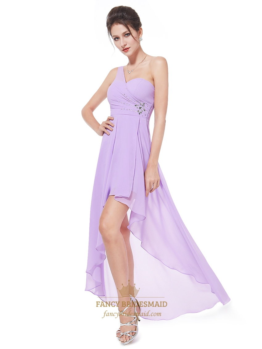Lilac One Shoulder High Low Chiffon Bridesmaid Dress With ...
