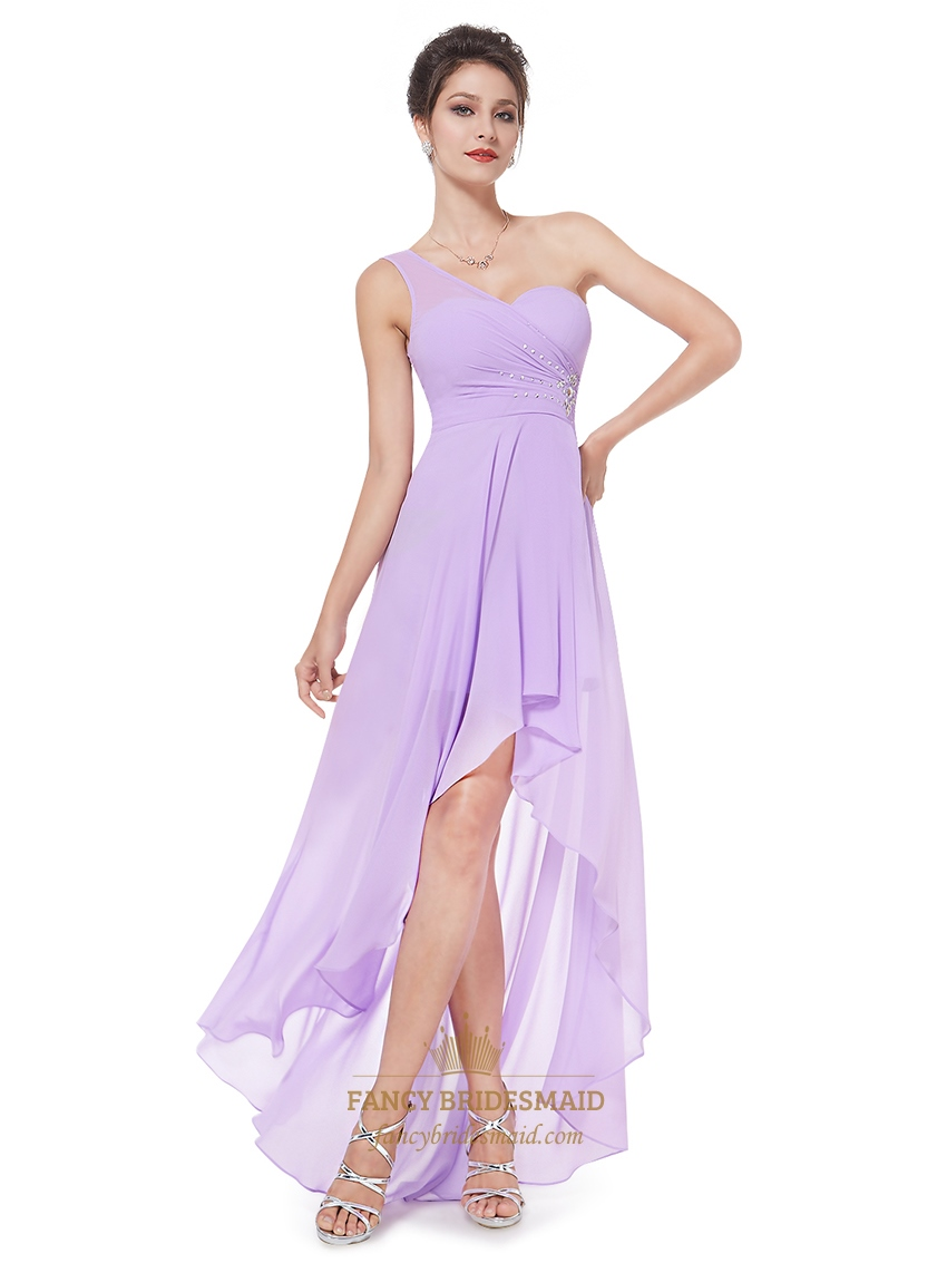 Lilac one shoulder high low chiffon bridesmaid dress with beaded lilac one shoulder high low chiffon bridesmaid dress with beaded detail ombrellifo Image collections