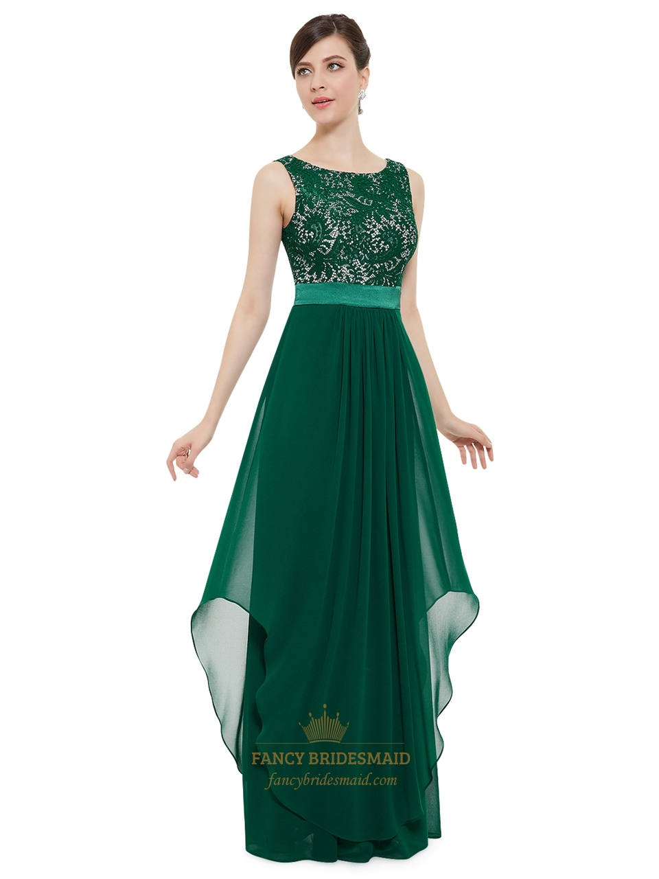 Elegant Emerald Green Chiffon Bridesmaid Dresses With Lace