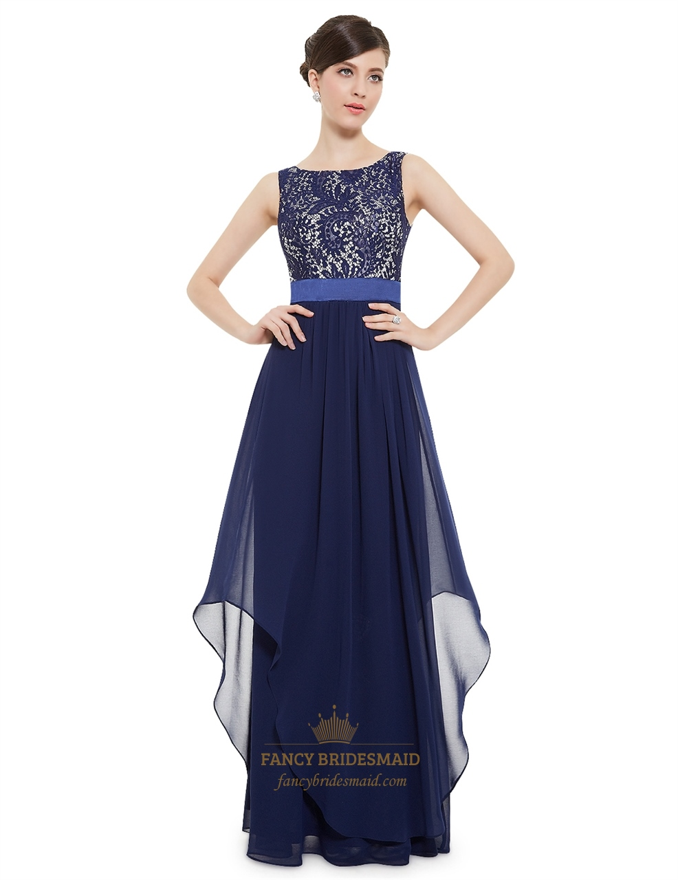 Elegant navy blue chiffon long bridesmaid dresses with lace bodice elegant navy blue chiffon long bridesmaid dresses with lace bodice ombrellifo Choice Image