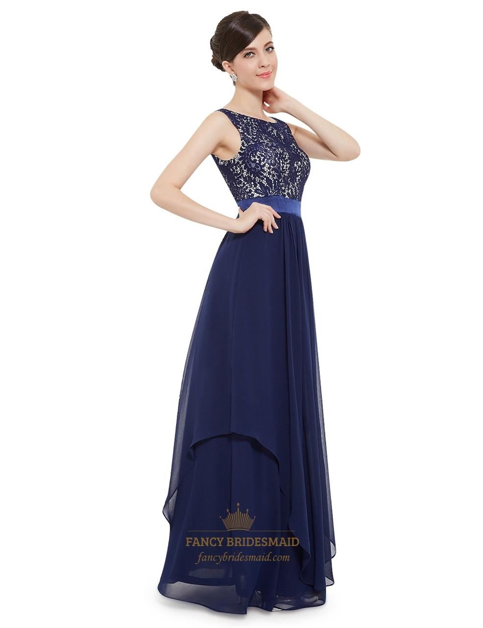 926ba979c4f Elegant Navy Blue Chiffon Long Bridesmaid Dresses With Lace Bodice ...