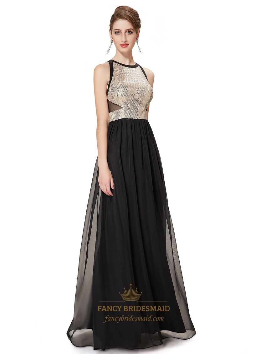 Elegant black chiffon floor length prom dress with sequin for Floor length dresses