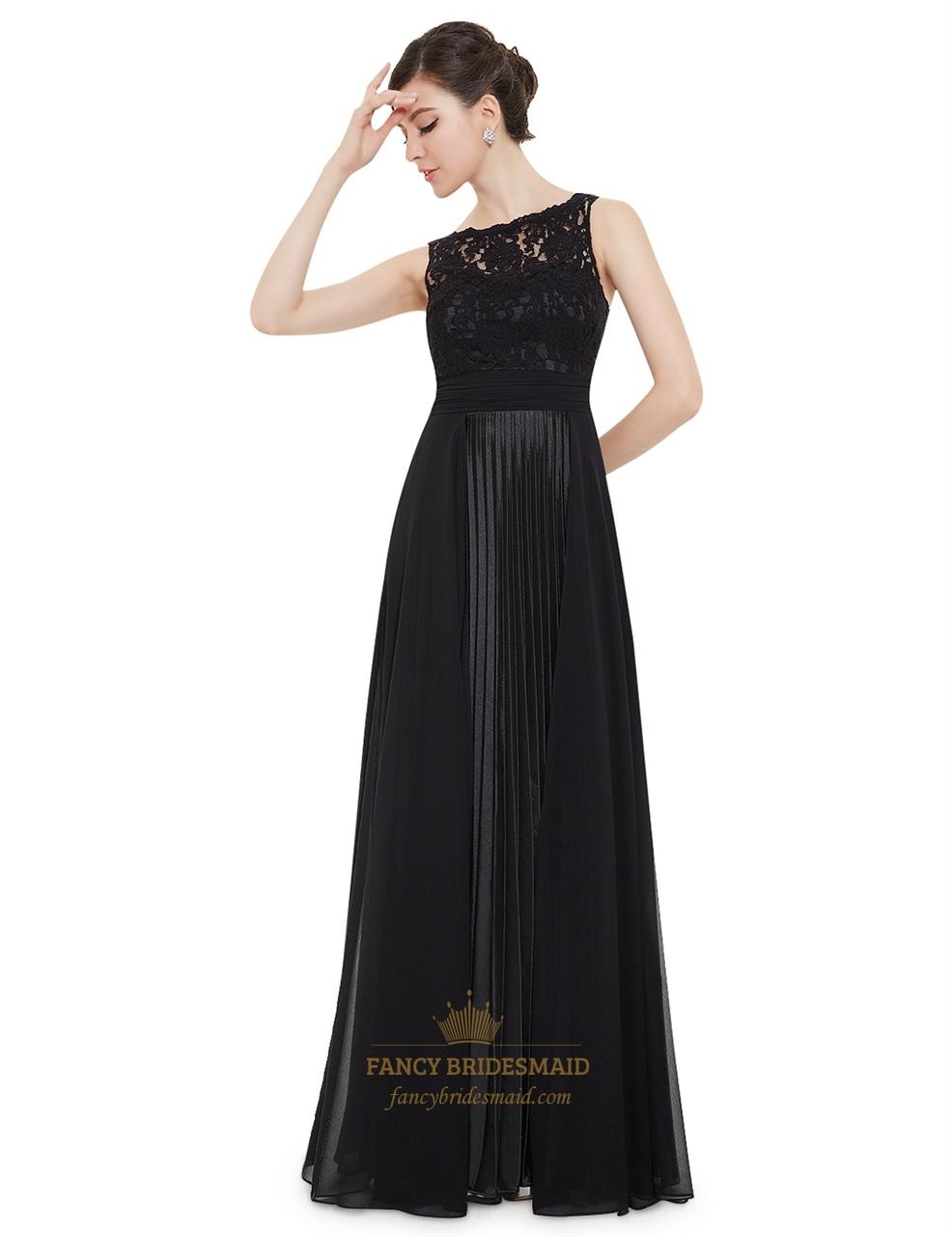 Long black lace bridesmaid dresses