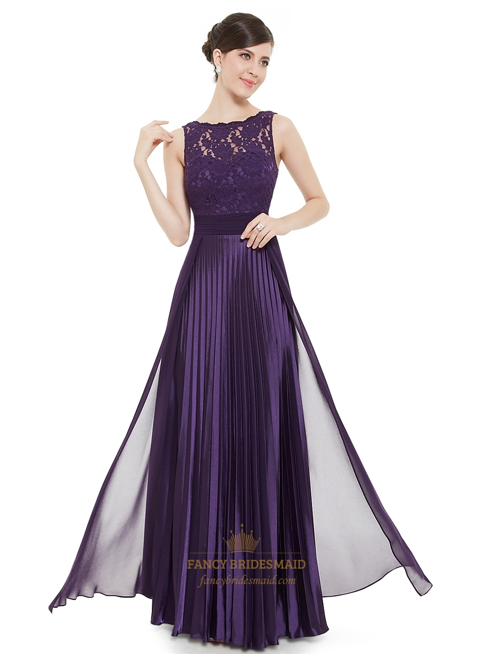 Elegant Purple Lace Illusion Neckline Chiffon Long Bridesmaid Dress