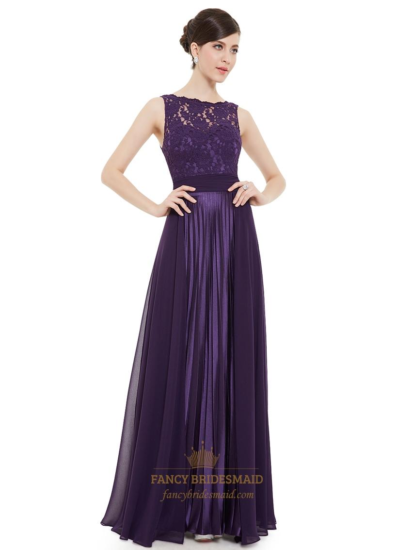 elegant purple lace illusion neckline chiffon long