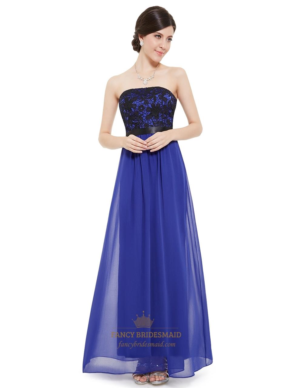 Royal Blue Strapless Chiffon Long Bridesmaid Dress With Lace Bodice ...