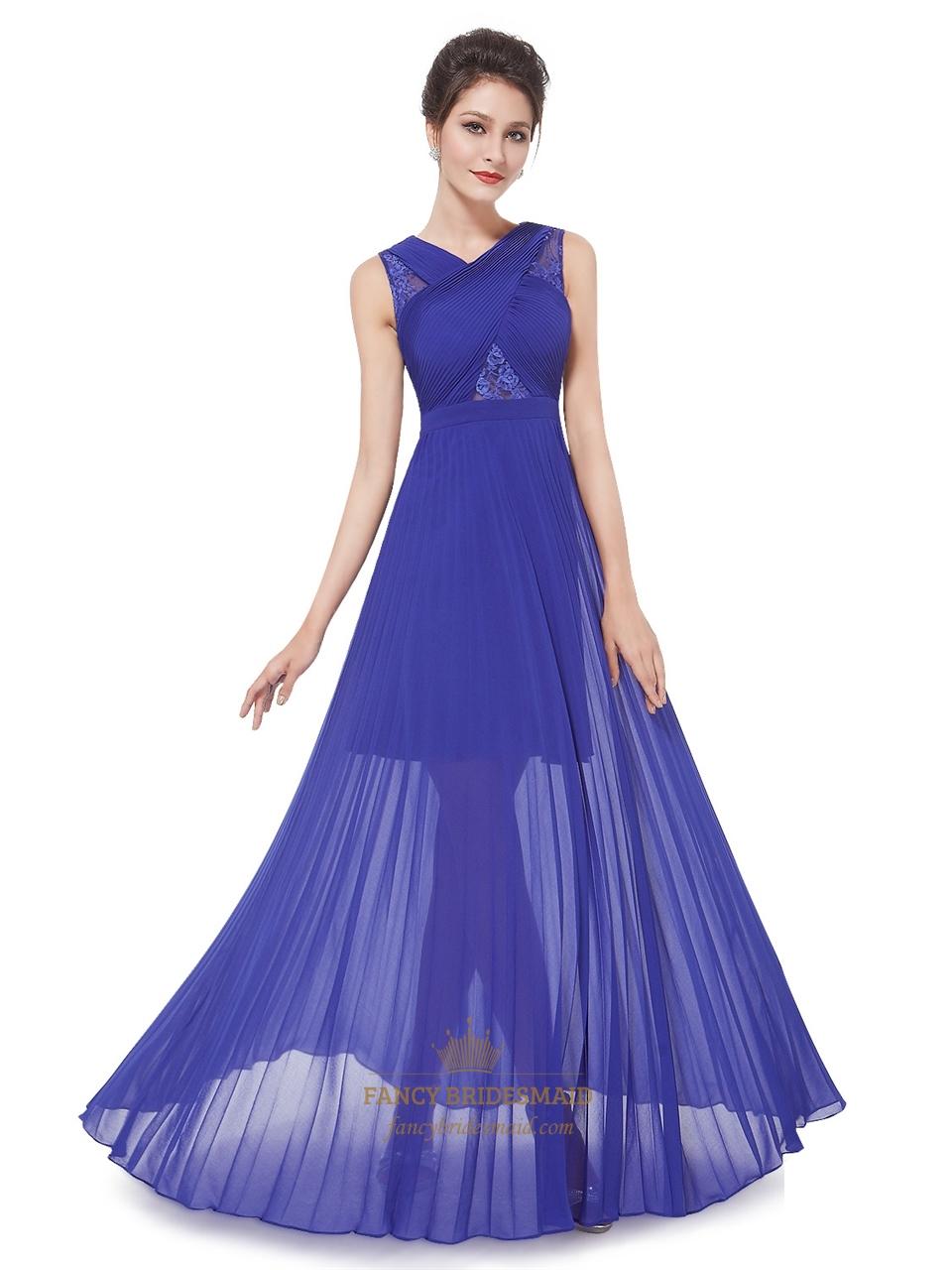 Royal Blue Chiffon Sheer Skirt Bridesmaid Dress With Lace Detail ...