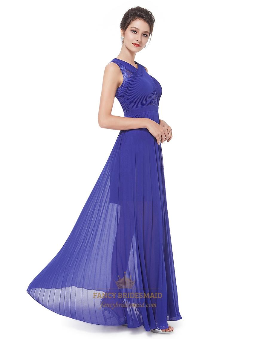 Royal Blue Chiffon Sheer Skirt Bridesmaid Dress With Lace