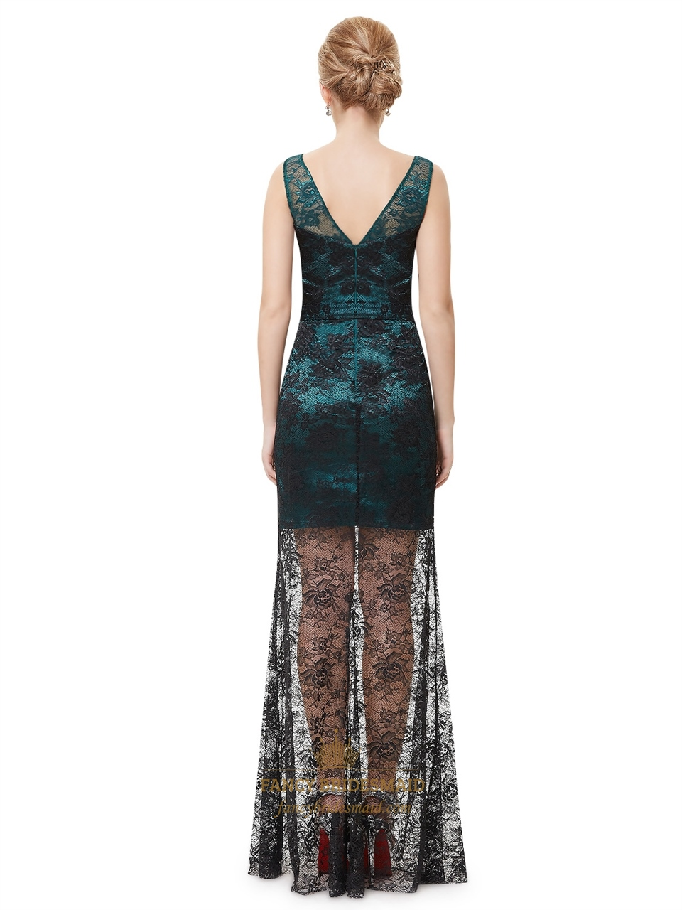 Teal black lace dress