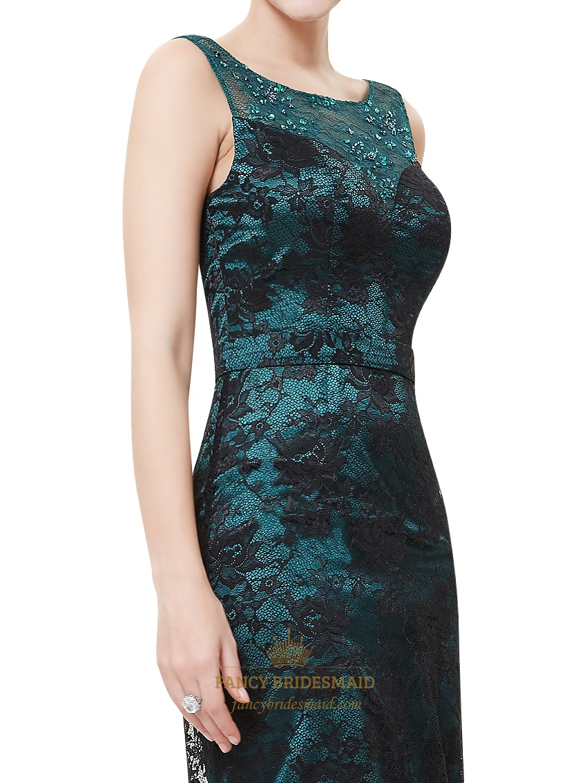 Black And Teal Beaded Neckline Lace Sheath Prom Dress With