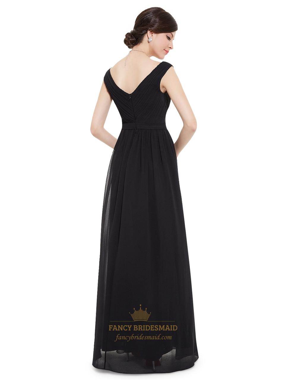 elegant black chiffon floor length bridesmaid dress with