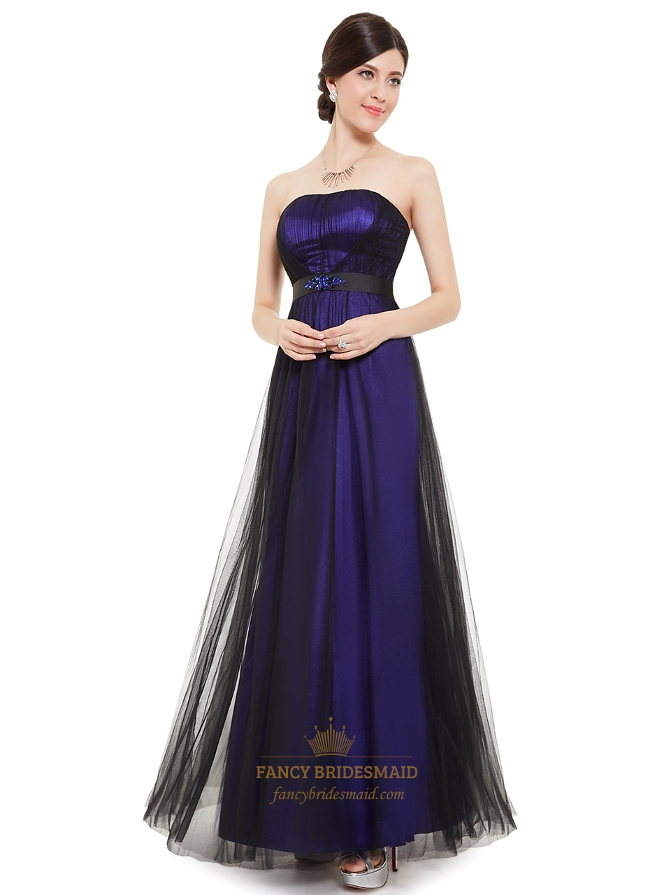 Purple And Black Strapless Tulle Bridesmaid Dresses With Beaded ...