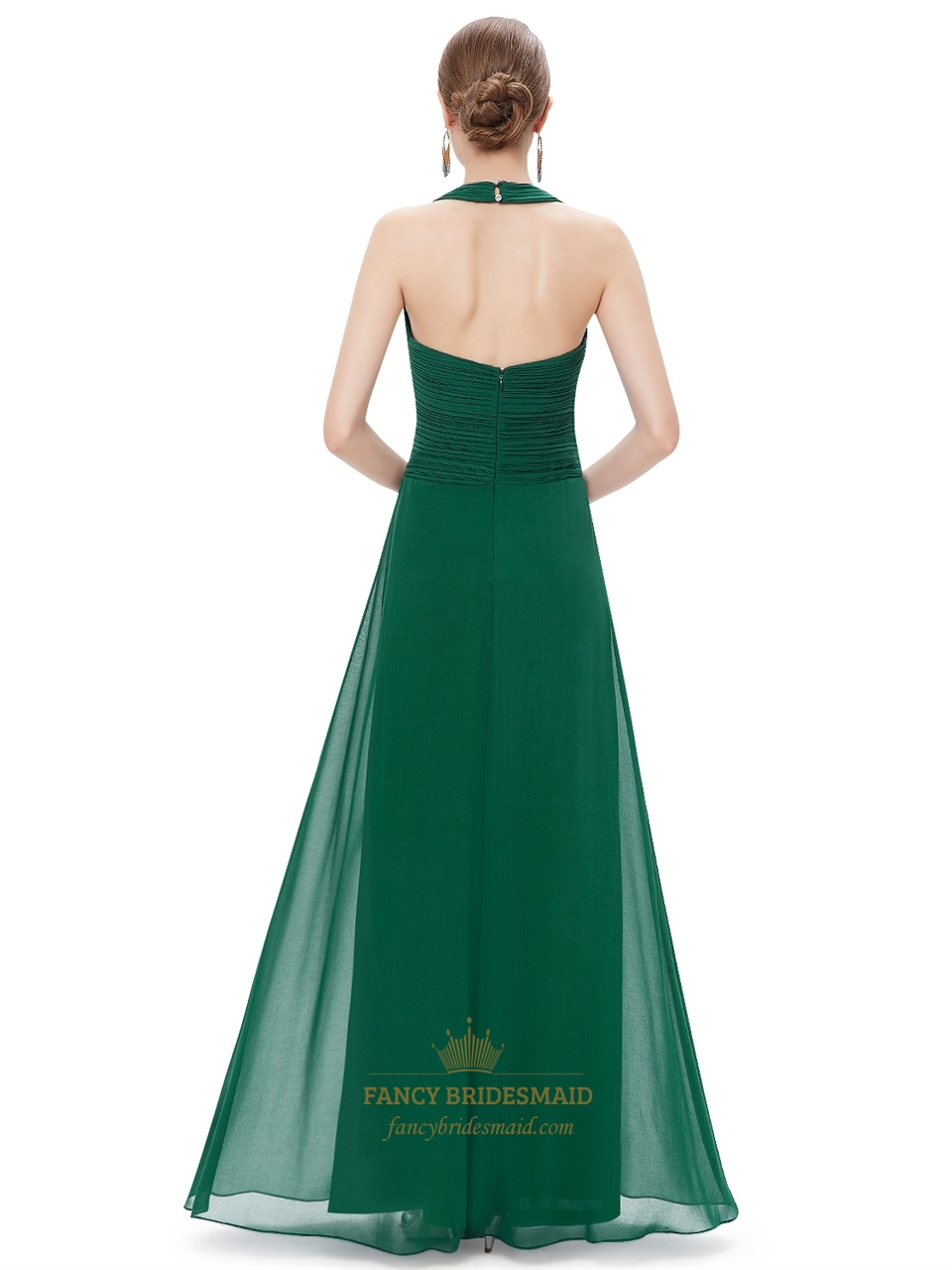Emerald Green Chiffon Halter Neck Bridesmaid Dresses With
