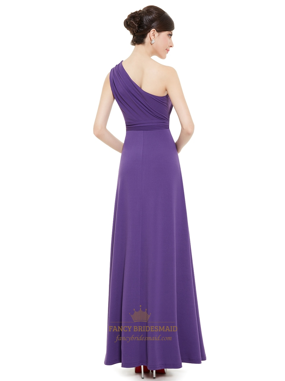 Elegant purple one strap long bridesmaid dresses with for One strap wedding dress