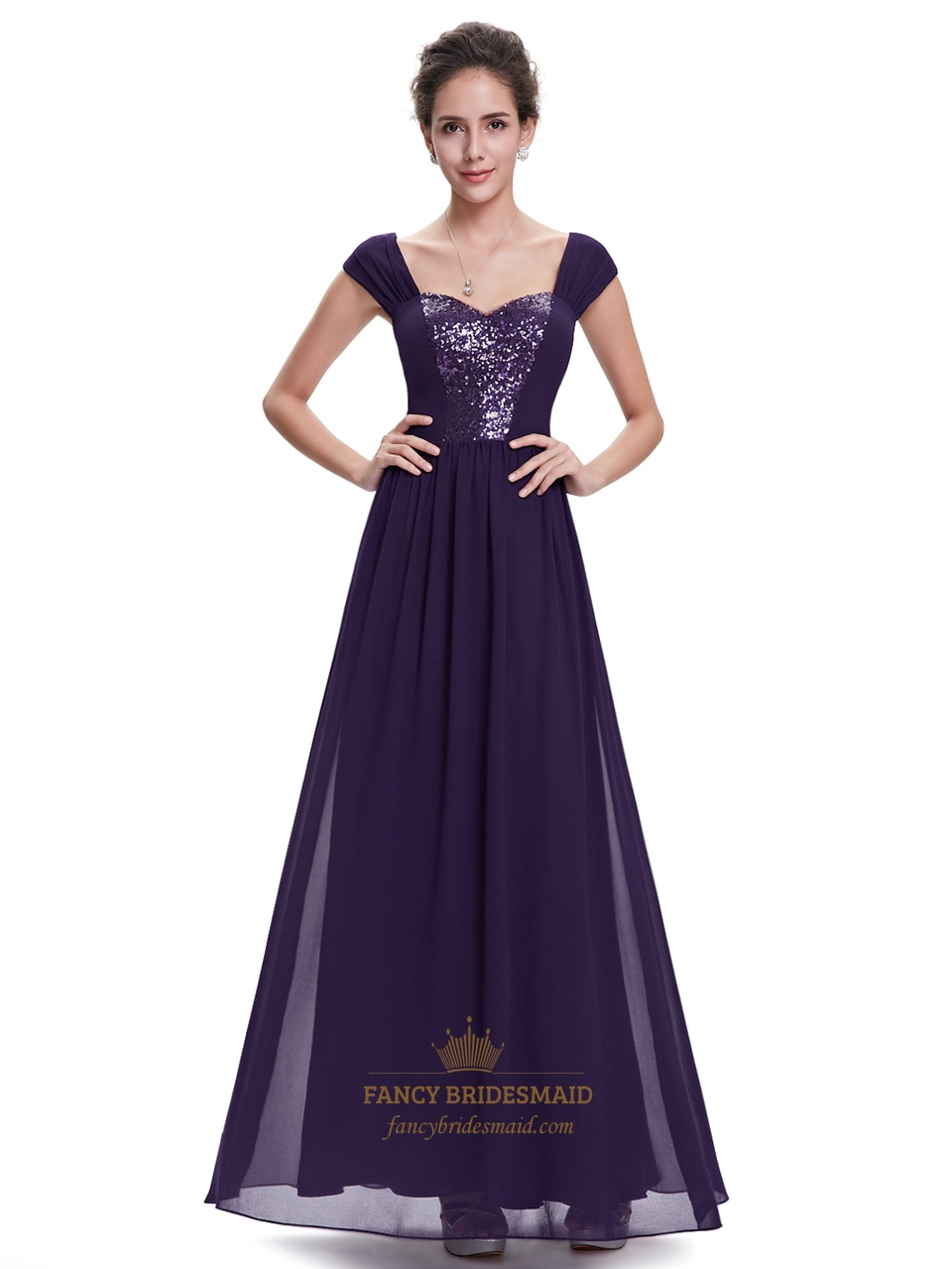 purple sweetheart chiffon cap sleeves bridesmaid dresses