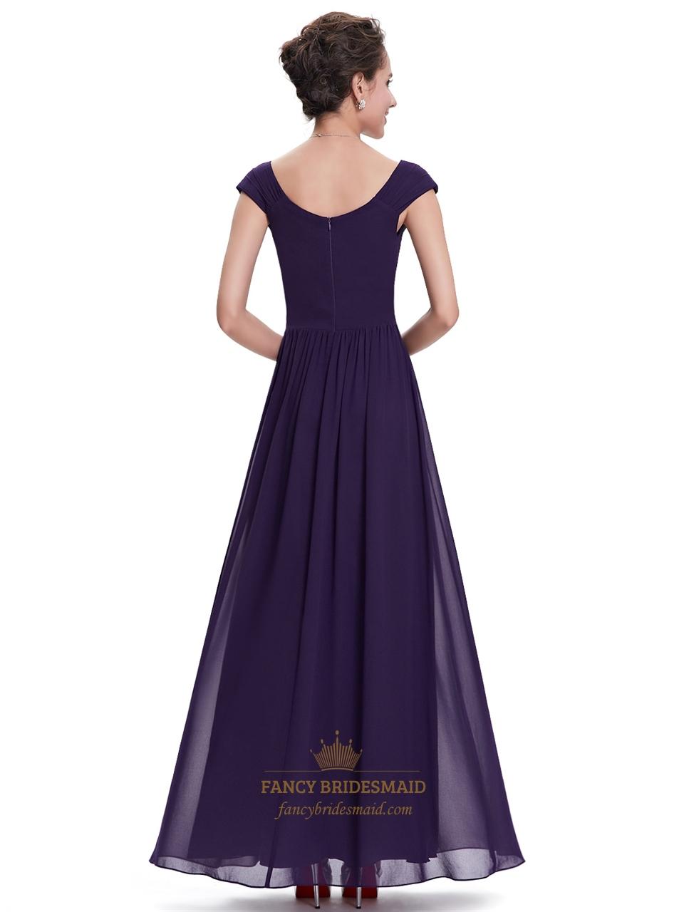 purple sweetheart chiffon cap sleeves bridesmaid dresses