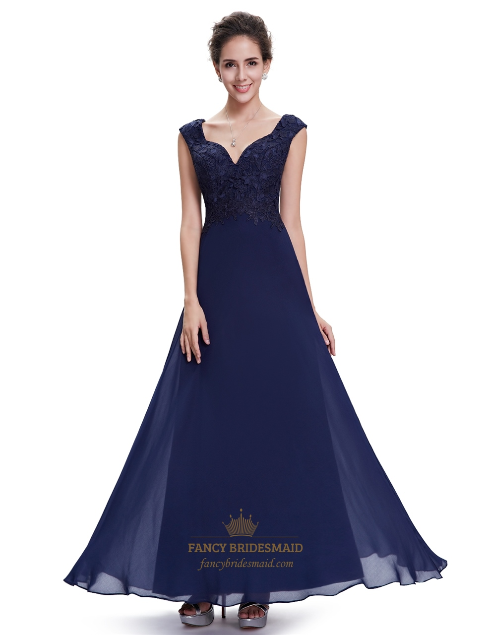 Navy blue cap sleeves chiffon long bridesmaid dresses with lace navy blue cap sleeves chiffon long bridesmaid dresses with lace bodice ombrellifo Gallery