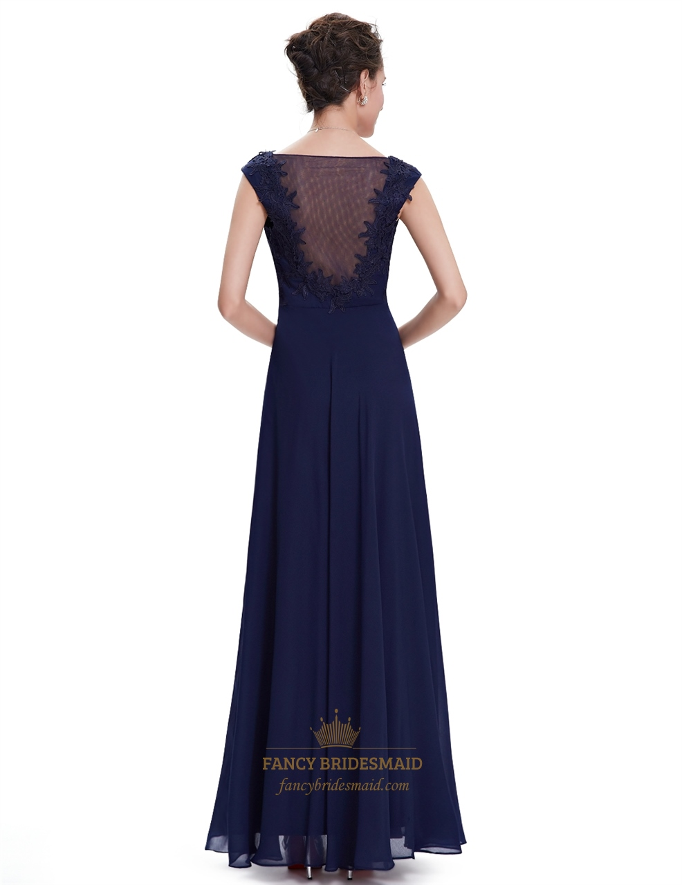 Navy long blue bridesmaid dresses with sleeves