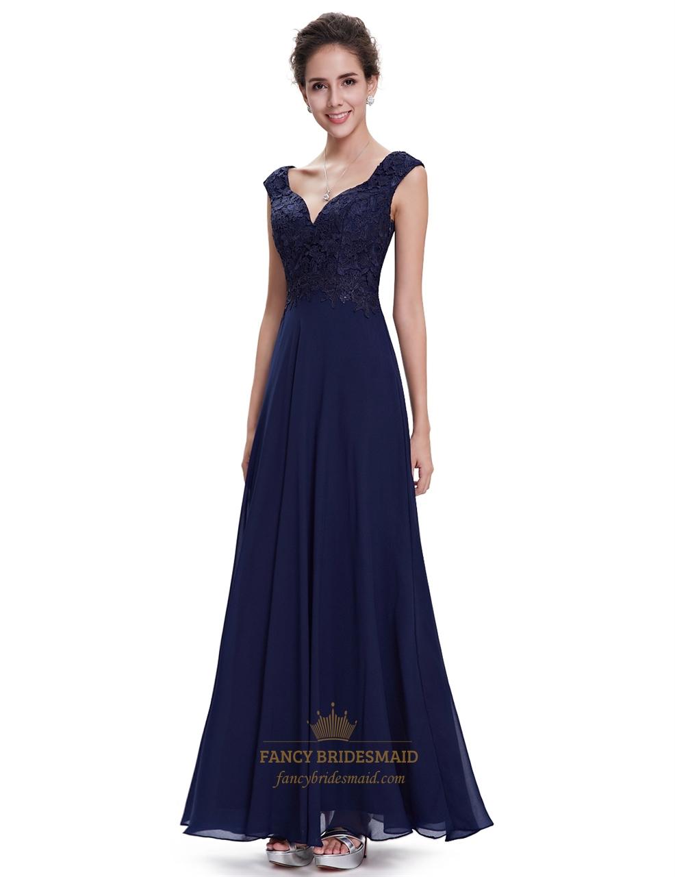 Navy blue cap sleeves chiffon long bridesmaid dresses with lace navy blue cap sleeves chiffon long bridesmaid dresses with lace bodice ombrellifo Images
