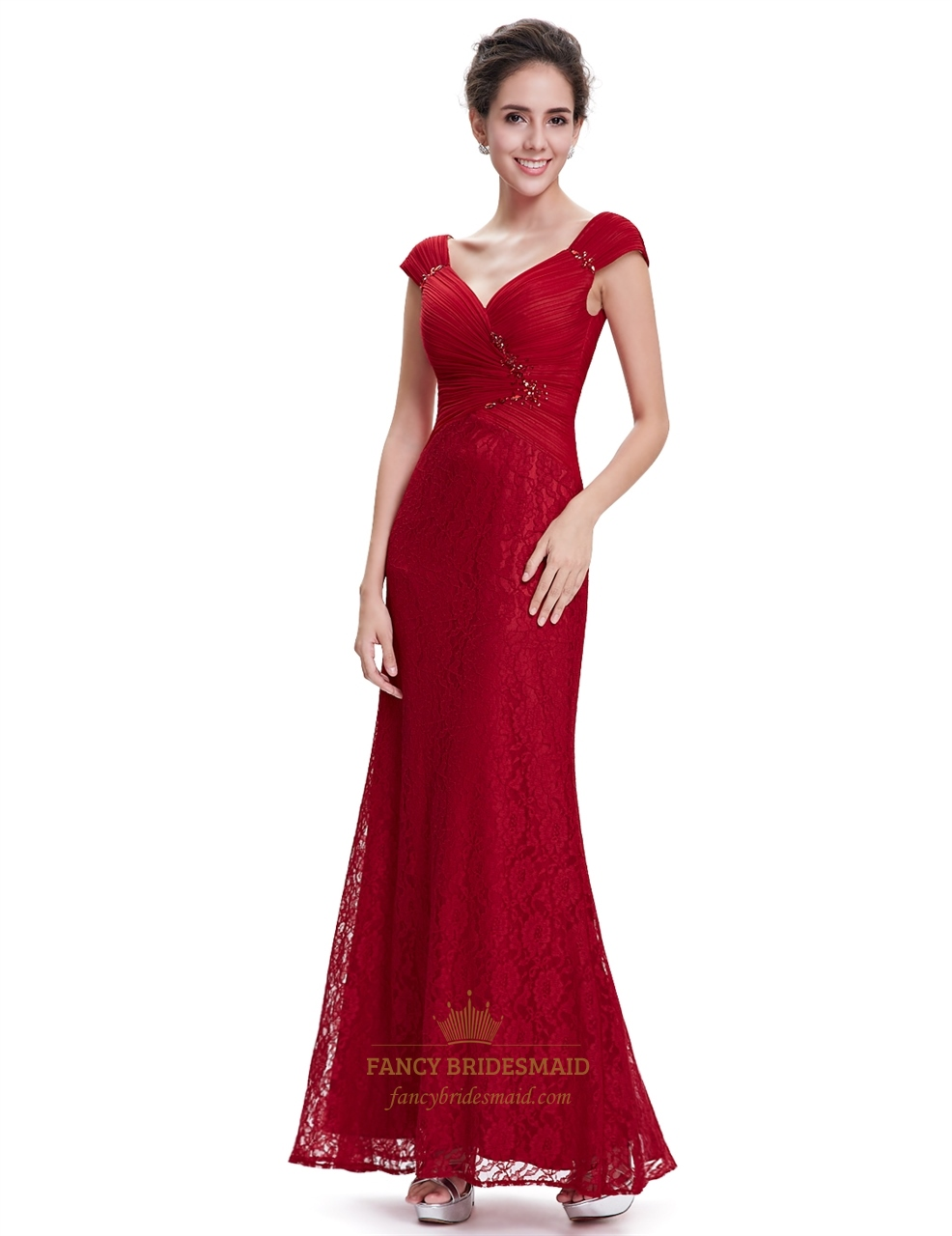 Red Lace Cap Sleeves Sheath Floor Length Prom Dress With ...