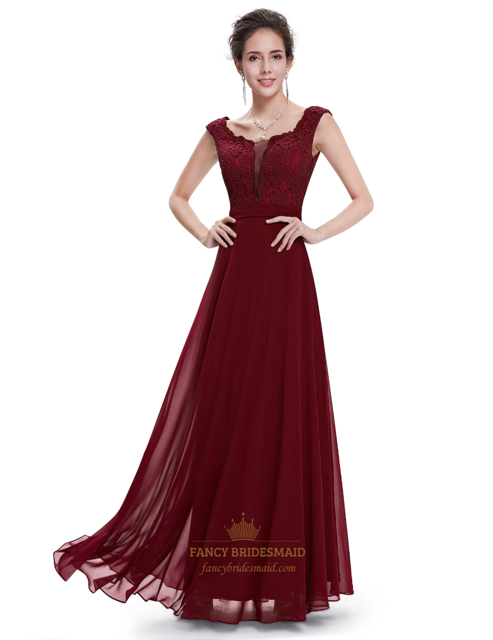 Burgundy chiffon cap sleeves long bridesmaid dresses with lace burgundy chiffon cap sleeves long bridesmaid dresses with lace bodice ombrellifo Gallery