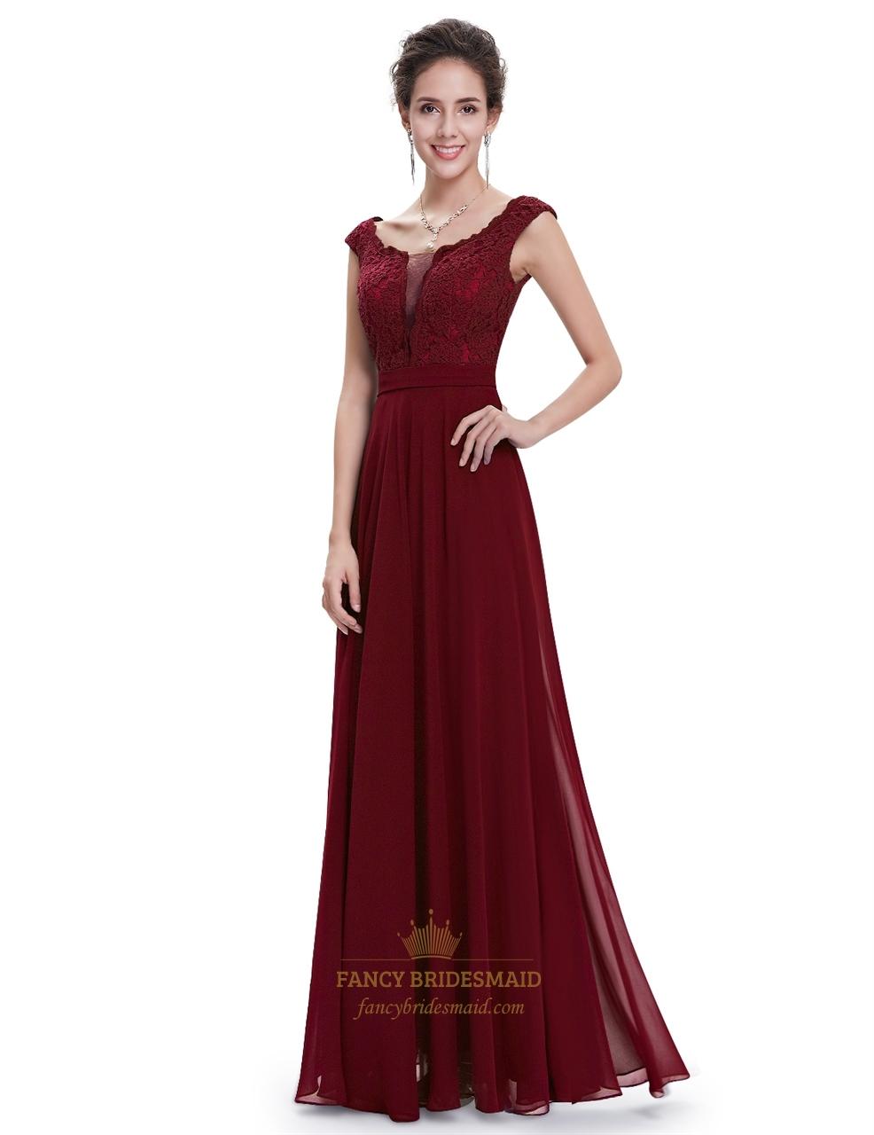 Burgundy chiffon cap sleeves long bridesmaid dresses with lace burgundy chiffon cap sleeves long bridesmaid dresses with lace bodice ombrellifo Images