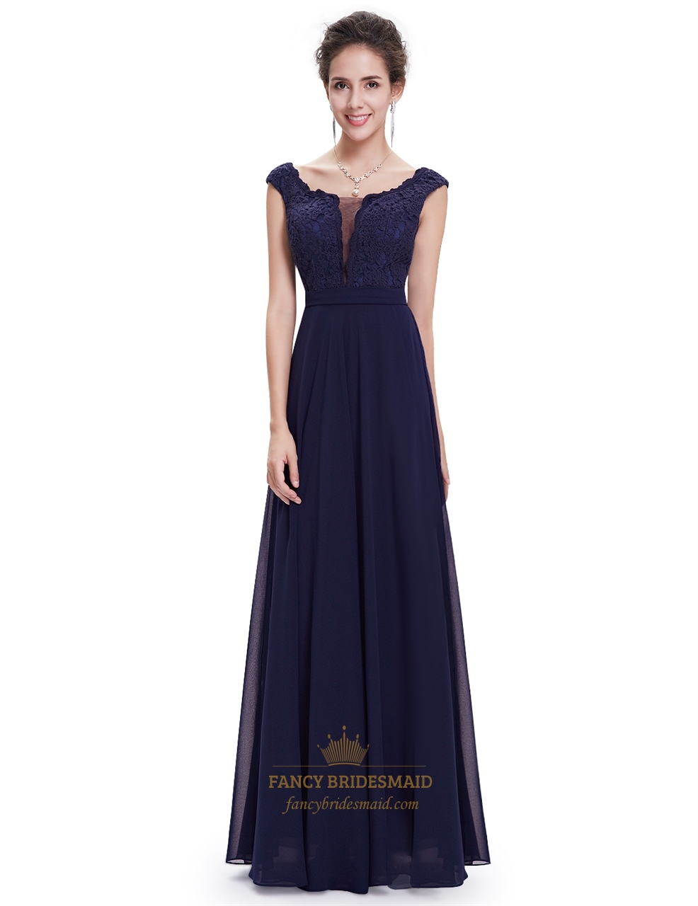 Navy blue chiffon cap sleeves long bridesmaid dresses with for Long blue dress for wedding