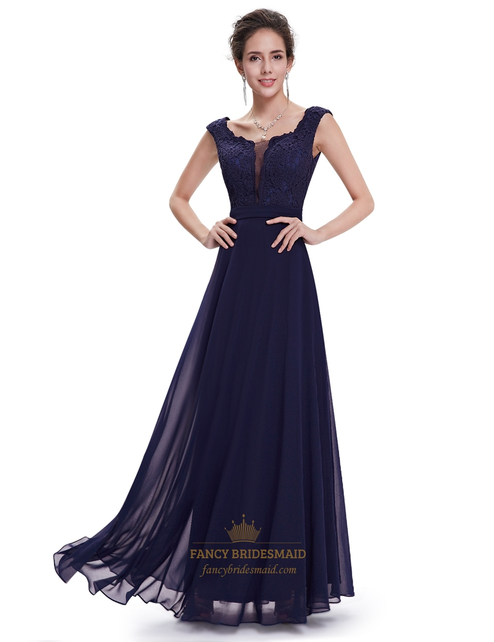 Fashion style Navy long blue bridesmaid dresses with sleeves for woman