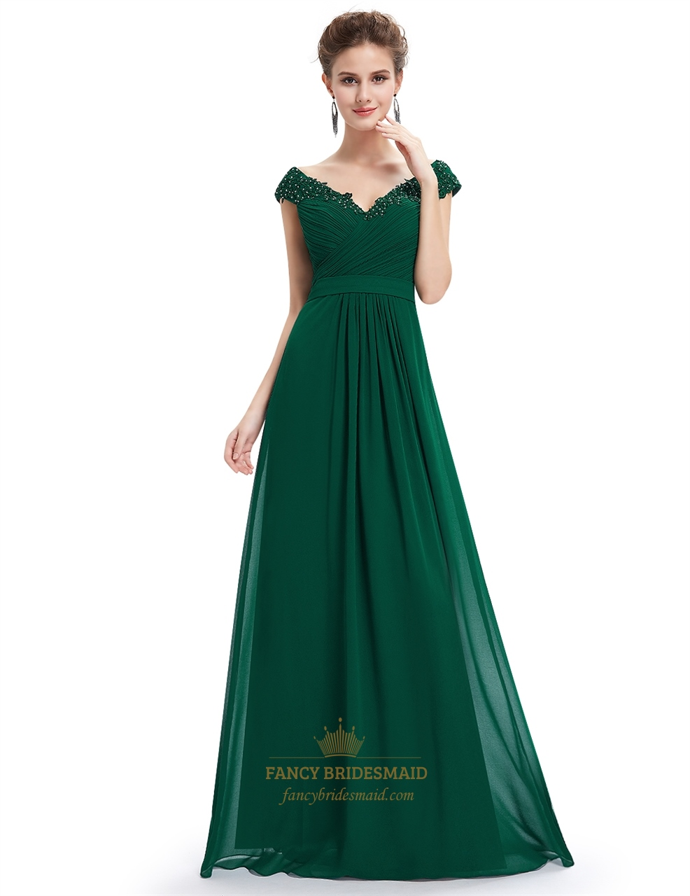 Emerald Green Chiffon Bridesmaid Dresses | Fancy Bridesmaid Dresses