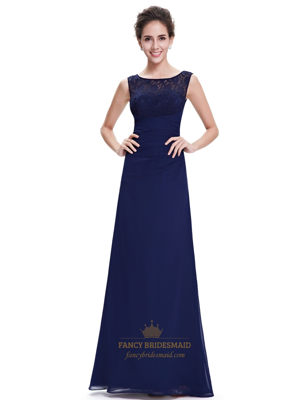 Elegant navy blue chiffon bridesmaid dresses lace top chiffon elegant navy blue chiffon bridesmaid dresses lace top chiffon bottom ombrellifo Gallery