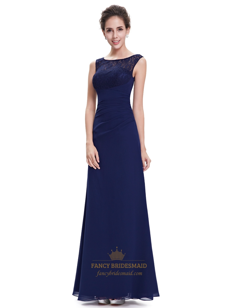Elegant navy blue chiffon bridesmaid dresses lace top for Wedding dresses chiffon lace