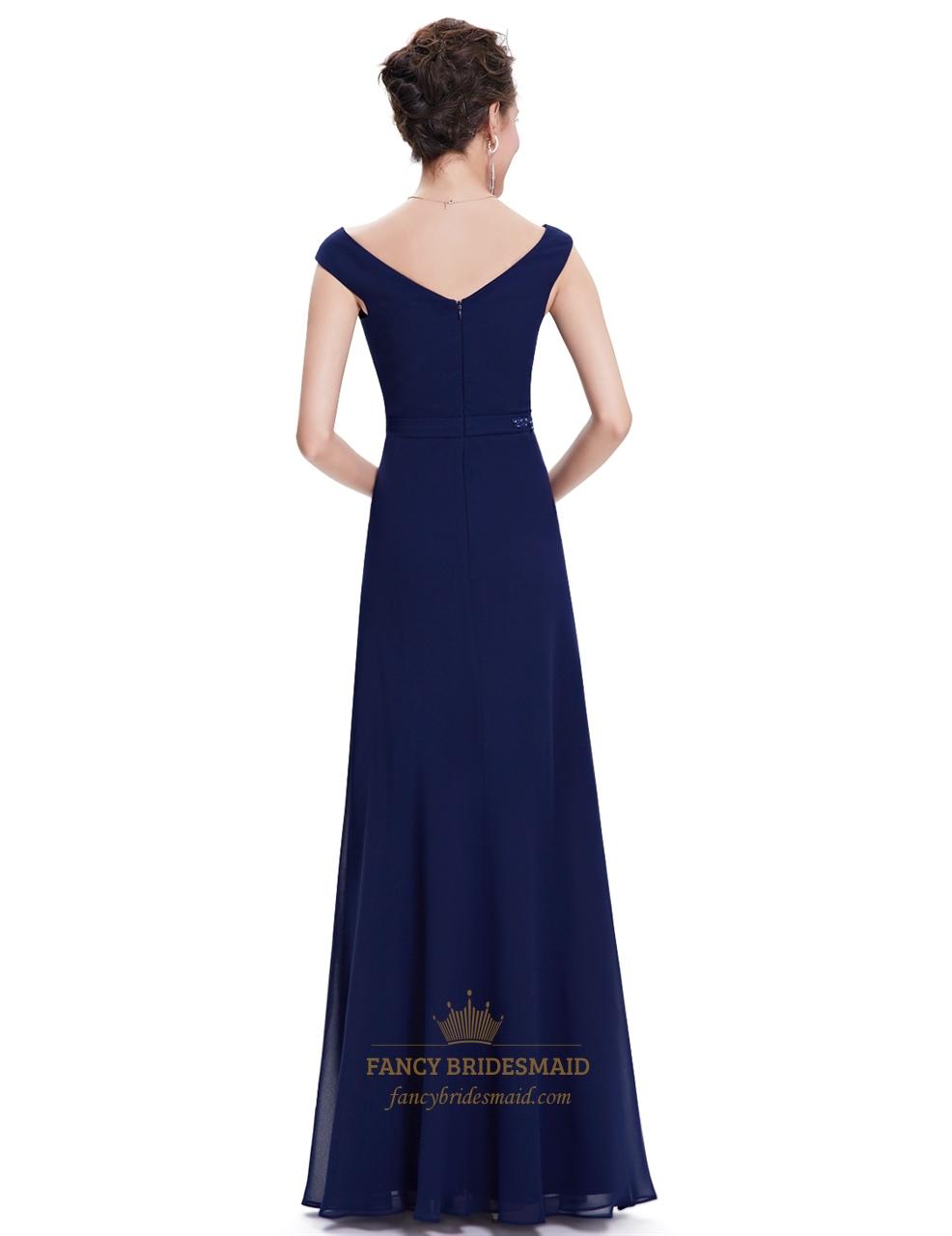 Bridesmaid Dresses Navy Blue Long 88