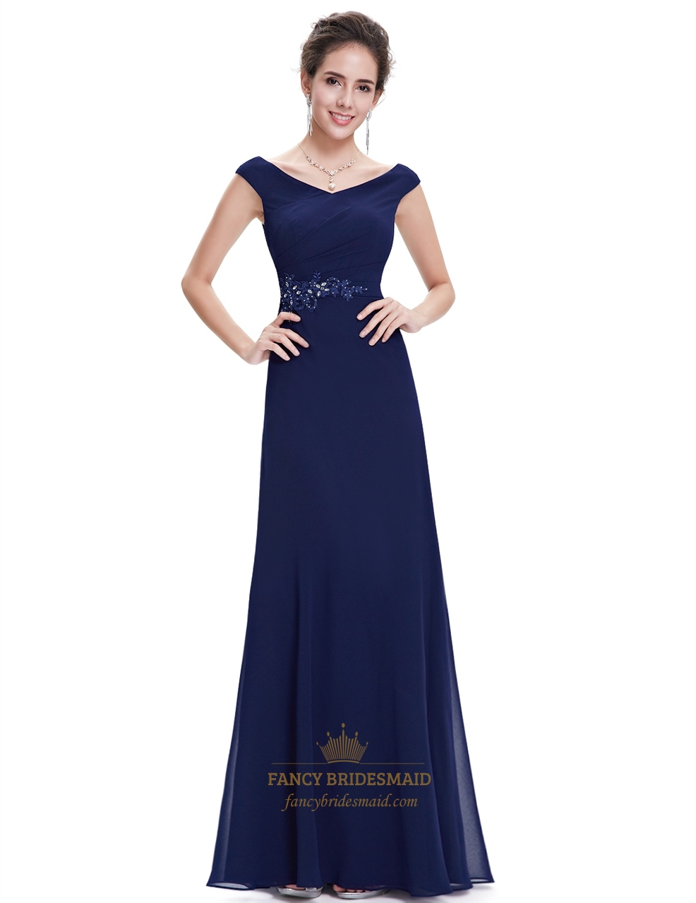 Navy blue chiffon long bridesmaid dresses with beaded lace for Blue long dress wedding