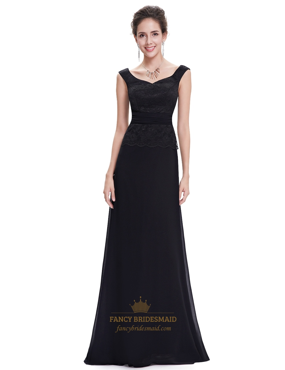 Black chiffon long bridesmaid dresses with beaded lace for Black bridesmaids dresses wedding