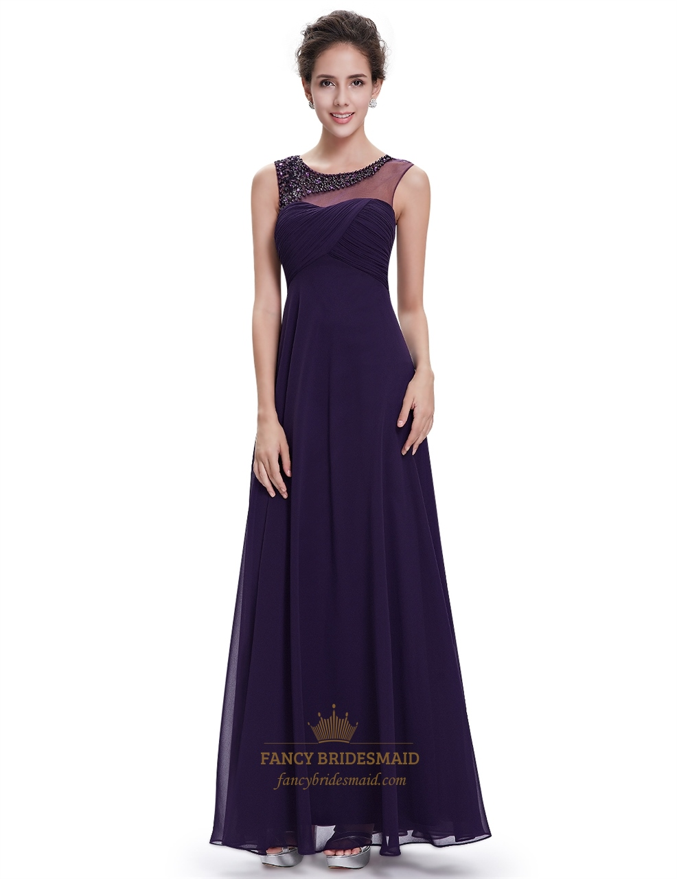 Purple sleeveless chiffon floor length prom dress with for Floor length dresses