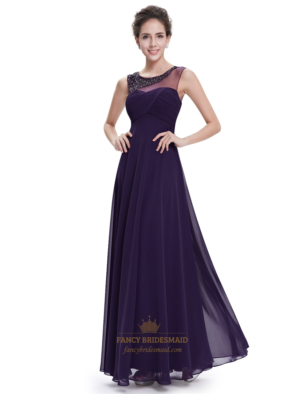 Purple sleeveless chiffon floor length prom dress with for Floor length gowns