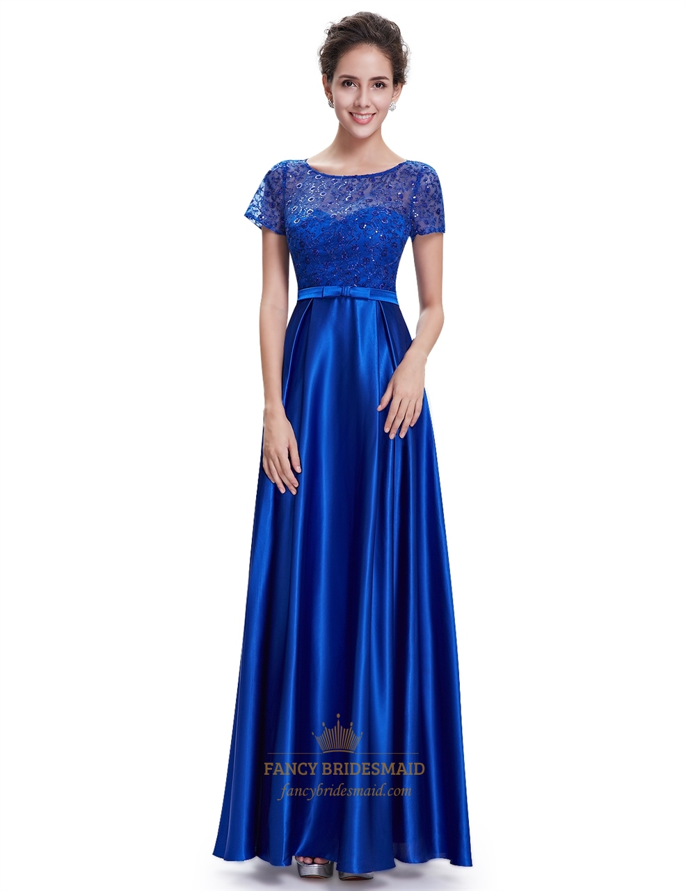 Royal blue short sleeve long bridesmaid dresses with lace for Long blue dress for wedding
