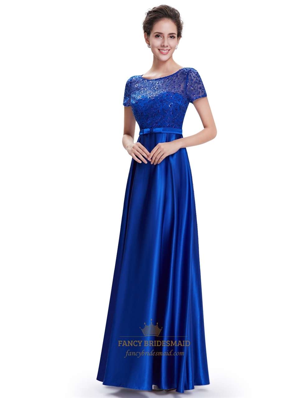 Royal blue lace dress with sleeves