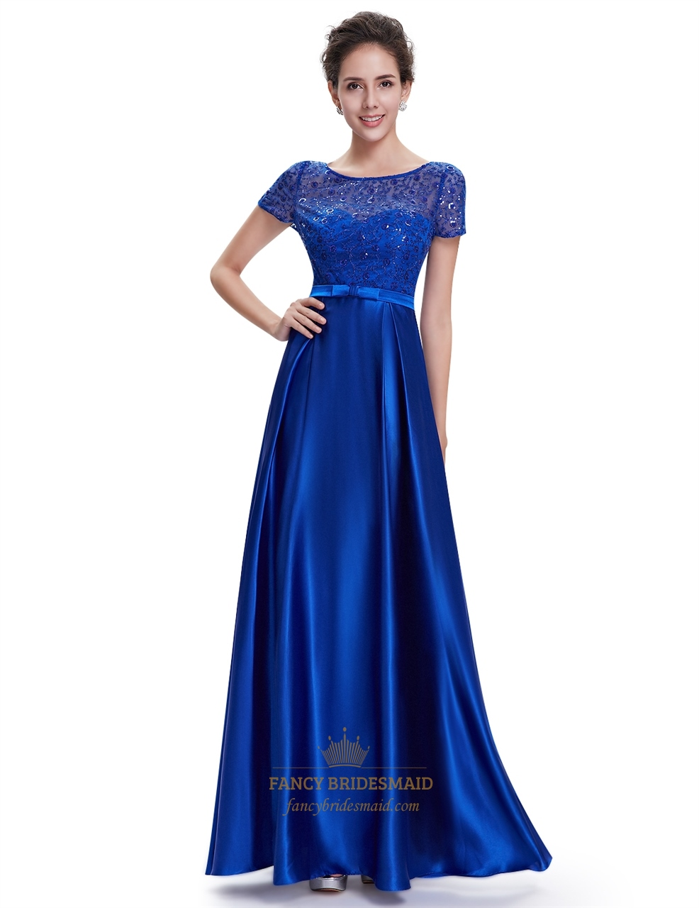 Royal blue short sleeve long bridesmaid dresses with lace for Blue wedding dress with sleeves